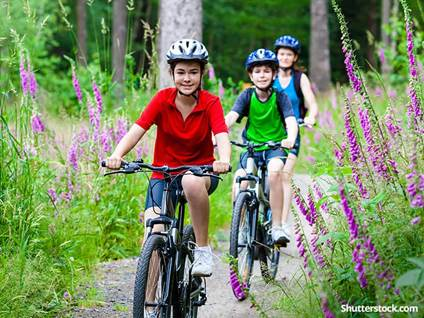 children-exercise-bike-nature