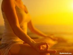 woman meditation beach