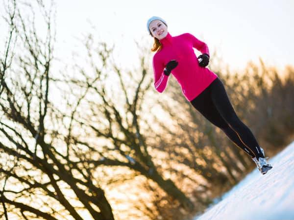 woman running in snow