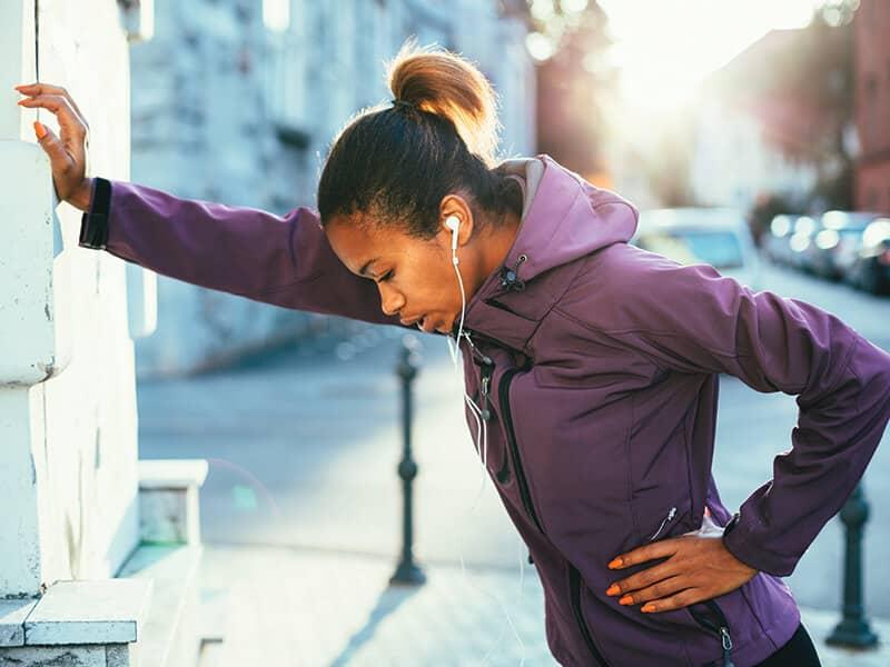 woman running tired