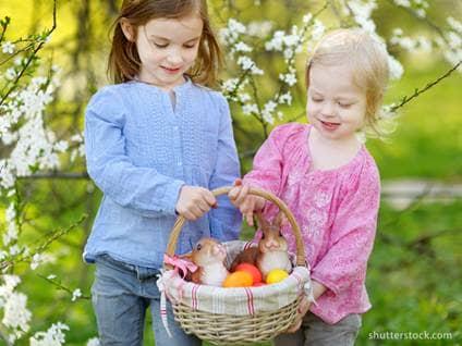 Easter basket and kids
