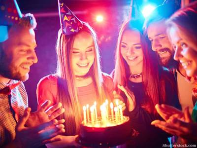 Young people celebrating birthday
