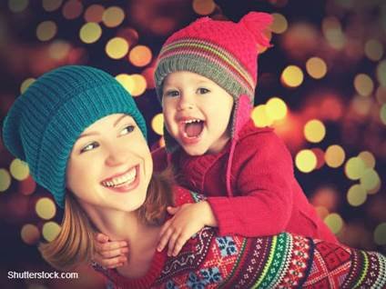 Mom and Daughter Wearing Xmas Sweaters