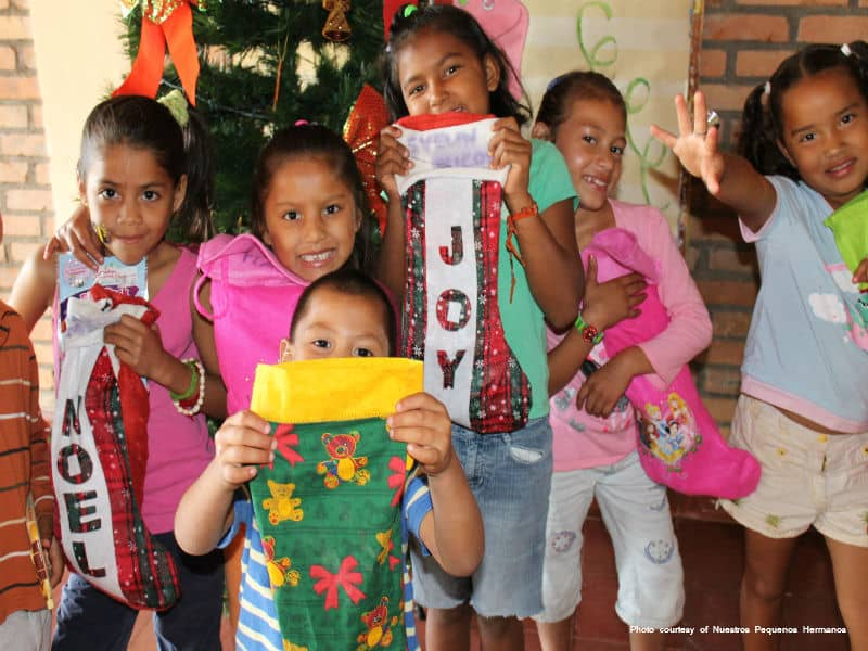 Children With Christmas Stockings