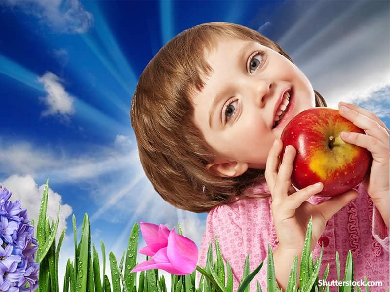 food girl with apple