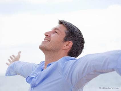 people joyful man praise
