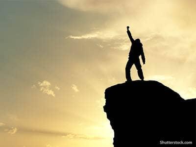 people man on top mountain