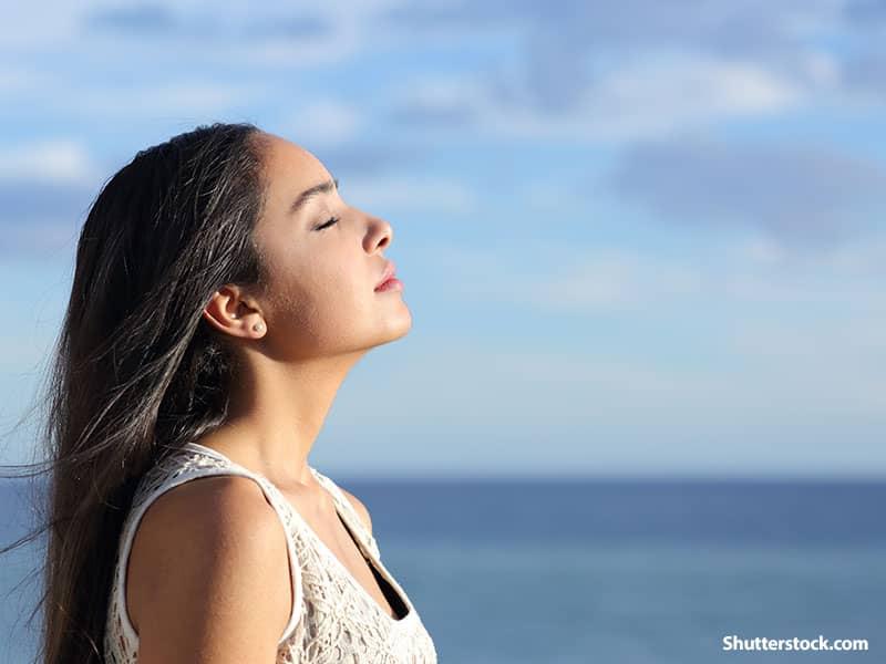 Woman Breath of Fresh Air