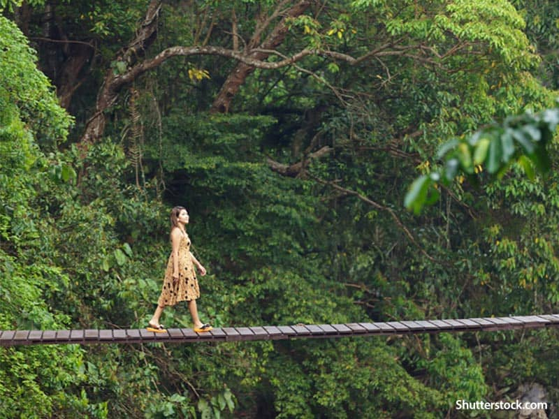 People woman on bridge