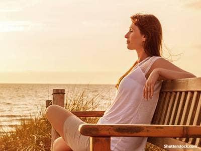 Woman Relaxing Ocean