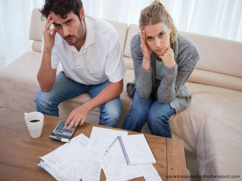 worried couple finances