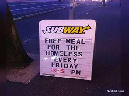 Subway Free Meals