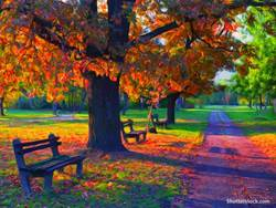 inspiring-fine-art-painting-park-bench