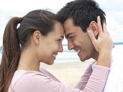 couple smile