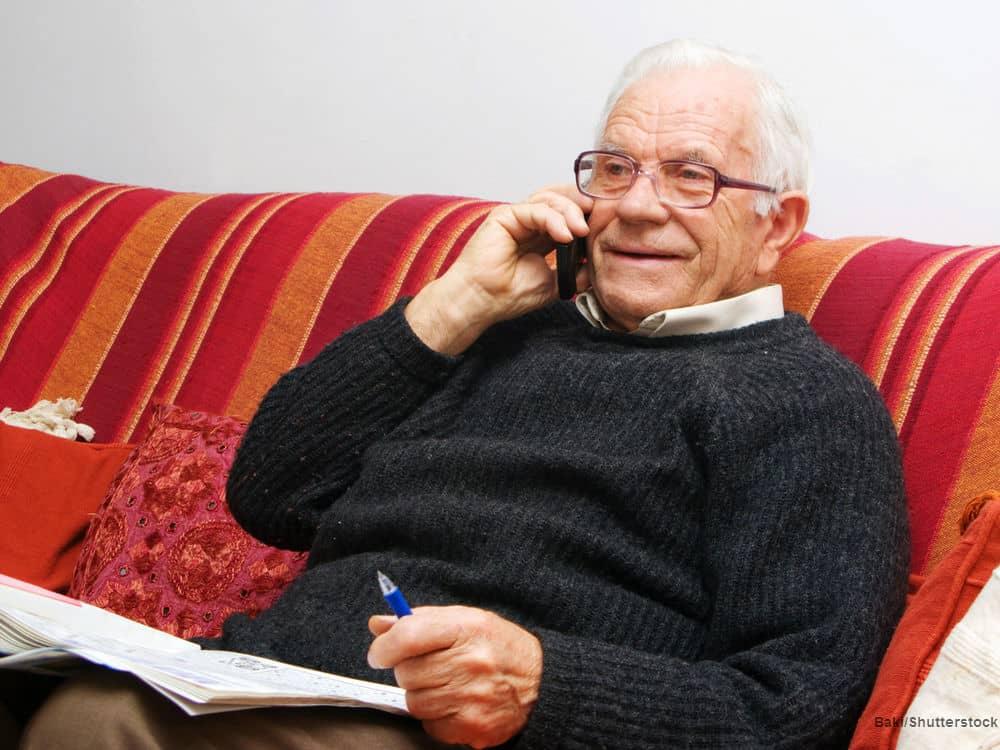grandpa on the phone