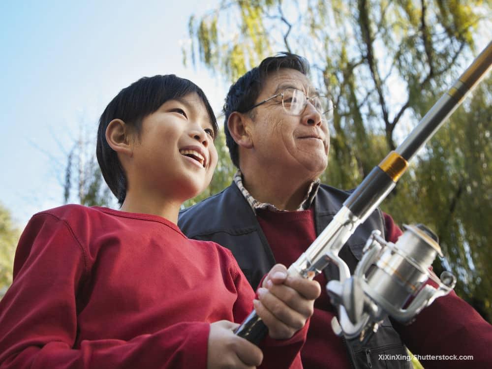 Grandfather Grandchild Fishing