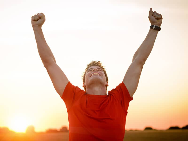 man feeling victorious