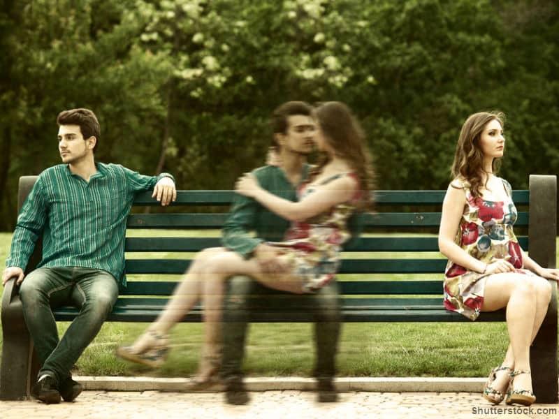 man, woman, distance