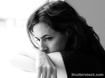 woman, looking down, calmness