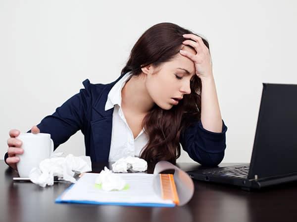 sick woman at work