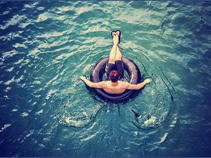man tubing