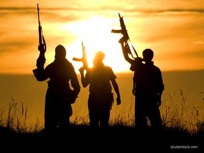 ISIS Fighters Meadow Guns Sunset