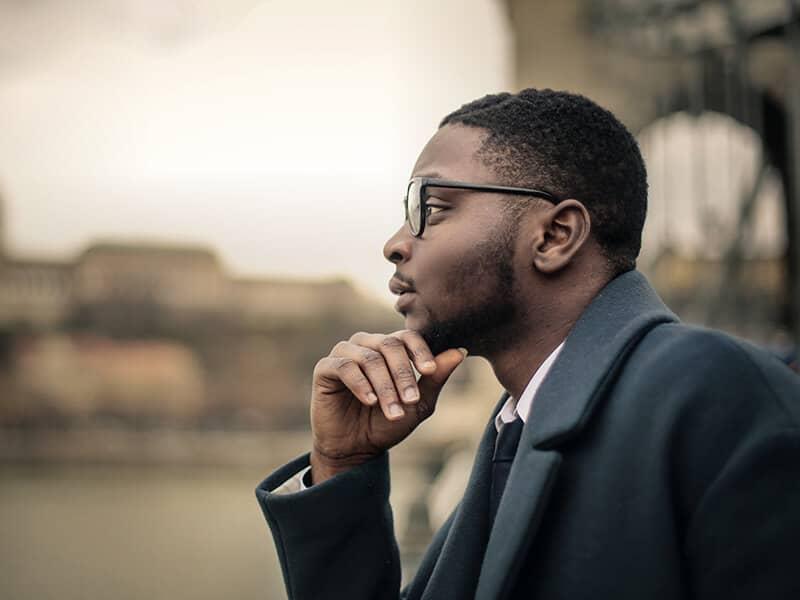 man thinking outside