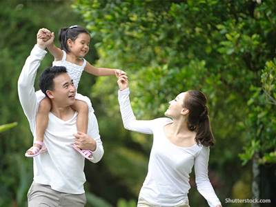 people asian family walking