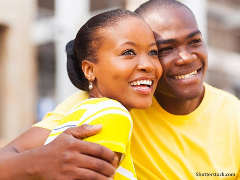 people couple smiling