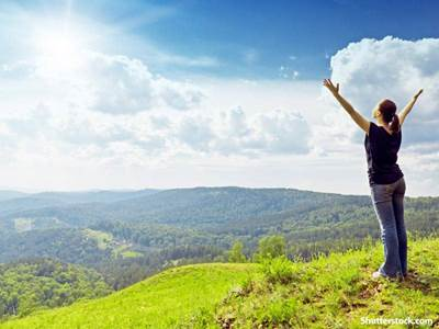 people woman praise mountain
