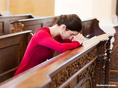 people woman praying at church