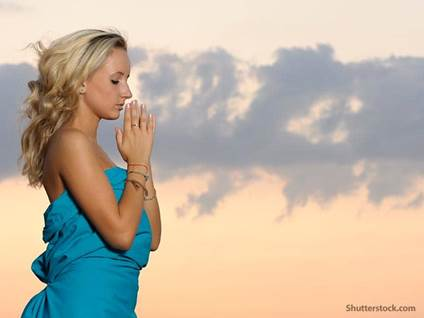 people woman praying beach