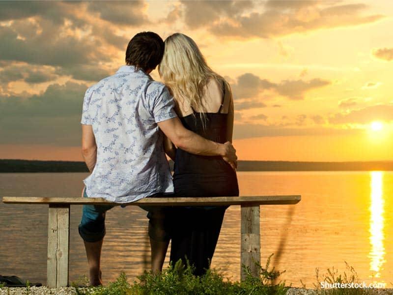 people couple sunset