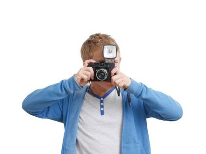 teen boy with camera