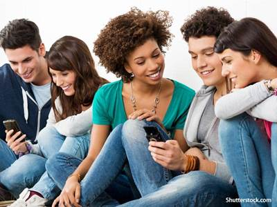 people group on cellphone