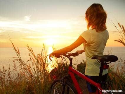 people woman sunset bike