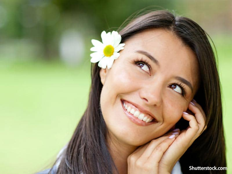 people woman thinking smiling