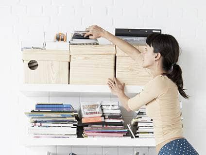 woman organizing