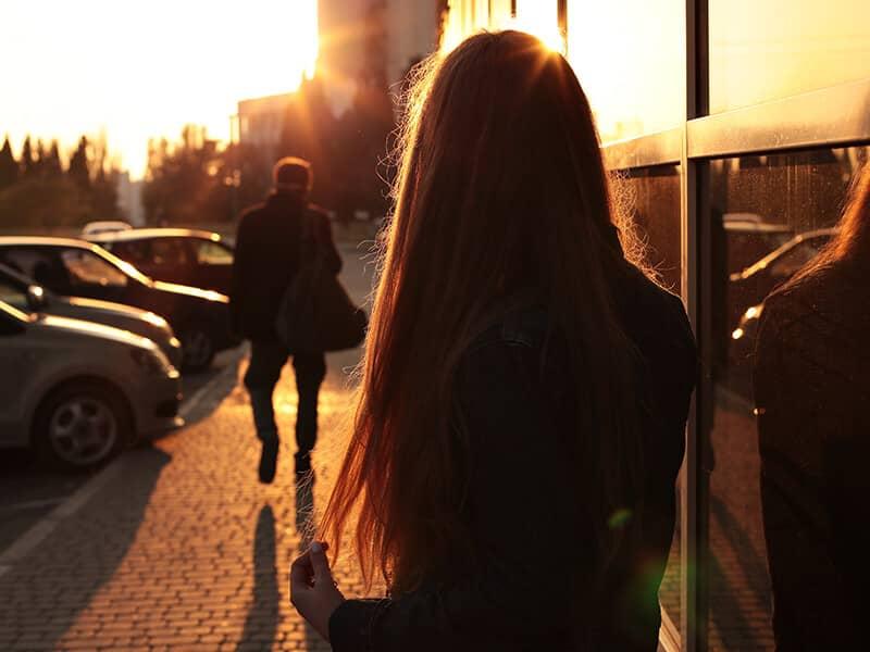 relationship walking away sunset street