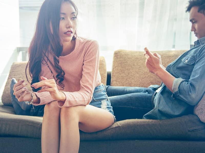 couple unhappy cellphone