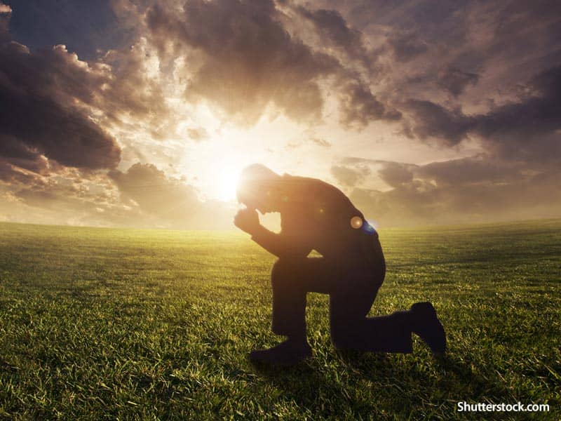 people man praying in field