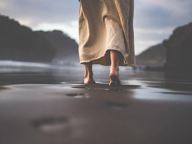 Jesus walking on beach