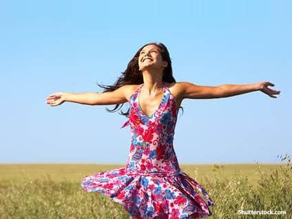 spiritual woman in field
