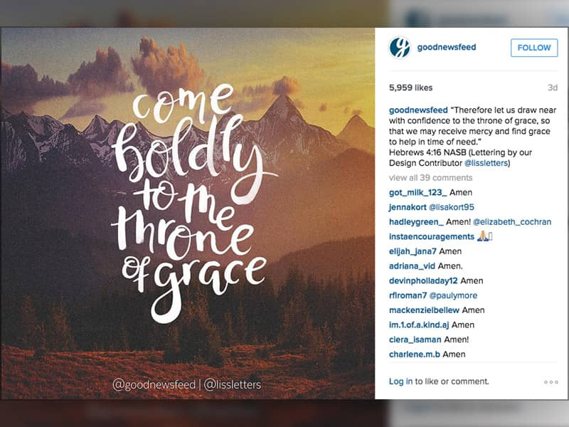 instagram pictures, top Christian instagram accounts, goodnewsfeed, instgram newsfeeds to follow