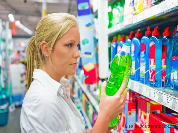Woman shopping for cleaning supplies
