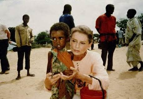 Audrey Hepburn helping kids