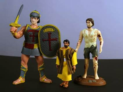 Job, Goliath, and Jesus action figures