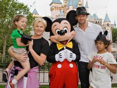 Hugh Jackman with wife Deborra and children Oscar and Ava