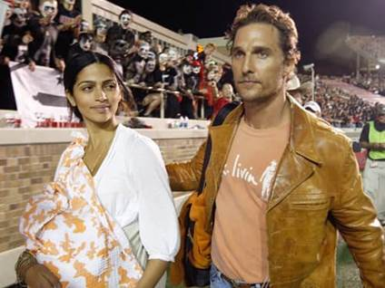 Matthew McConaughey with girlfriend Camila Alves and son Levi