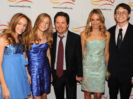 Michael J. Fox with wife Tracy Pollen son Sam and daughters Schuyler and Aquinnah